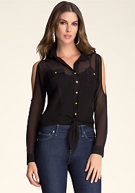 bebe Button-Up Tie Top