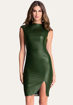 bebe Faux Leather Midi Dress