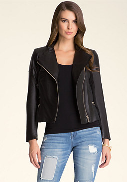 bebe Polly Leather Moto Jacket
