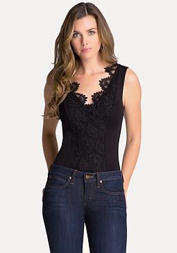 bebe Lace & Jersey Bodysuit