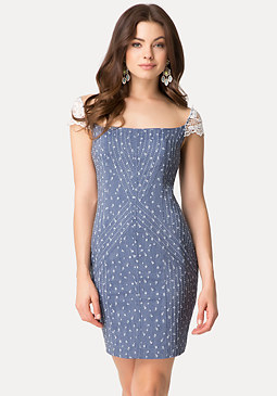 bebe Chambray Jacquard Dress
