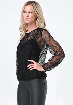 bebe Lace Diamond Smocked Top