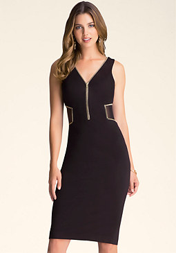 bebe Petite Zip Trim Midi Dress
