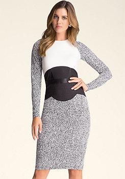 bebe Petite Jacquard Midi Dress