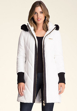 bebe Colorblock Puffer Coat
