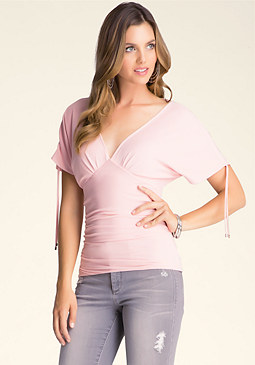 bebe Solid Double V-Neck Top