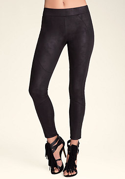 bebe Coated Seamed Moto Leggings