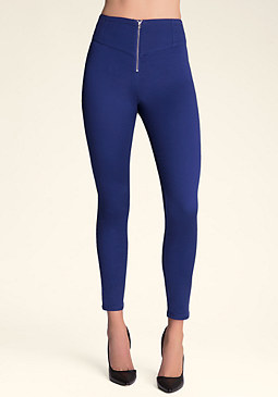 bebe Zip Front High-Waist Pants