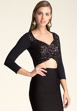 bebe Sequin 3/4 Sleeve Crop Top
