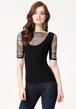 bebe Burke Slash Sleeve Tee
