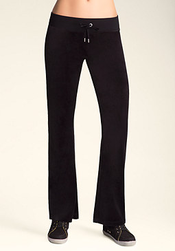bebe Logo Solid Velour Pants