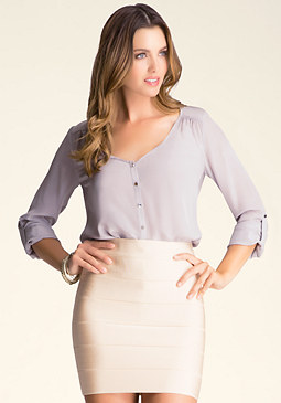 bebe Silk Roll Sleeve Blouse