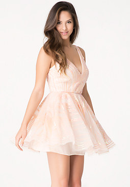 bebe Sequin Fit & Flare Dress