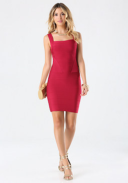 bebe Cutout Back Bandage Dress
