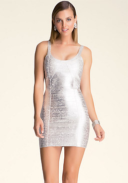 bebe Foiled Curve Neck Dress