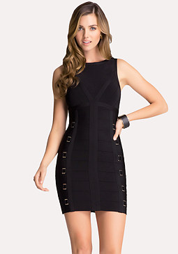 bebe Back V-Neck Bandage Dress