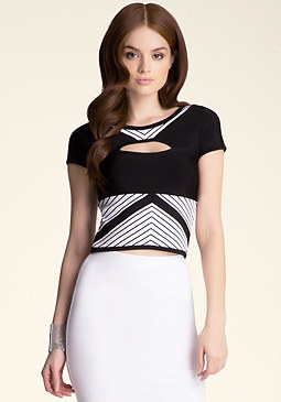 bebe Striped Keyhole Top