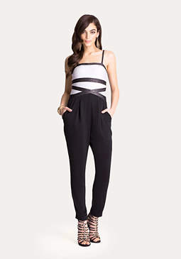 bebe Striped Bandage Jumpsuit