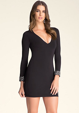 bebe Embellished Cuff Dress