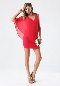bebe Asymmetric Flutter Dress