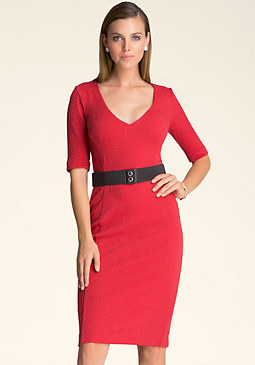 bebe Temple V-Neck Belted Dress