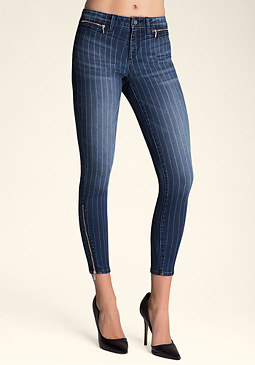 bebe Pinstripe Zip Skinny Jeans