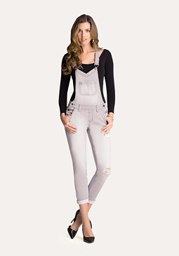 bebe Grey Distressed Overalls