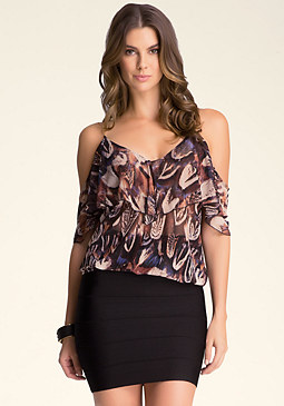 bebe Chain Strap Ruffle Top