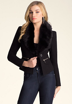 bebe Faux Fur Collar Wool Jacket