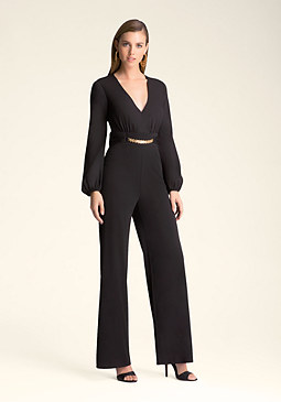 bebe Chain Belt Jumpsuit