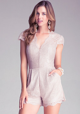bebe Coated Lace Romper