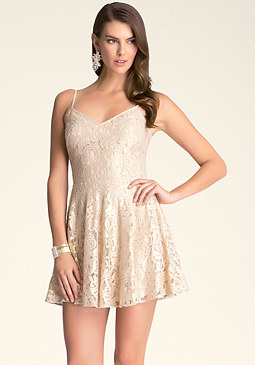 bebe Tie Back Lace Dress