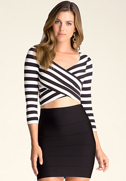 bebe Striped Wrap Crop Top