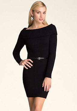 bebe Belted Cable Sweater Dress