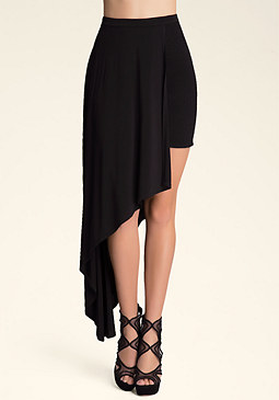bebe Smocked Asymmetric Skirt