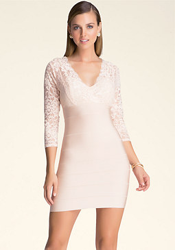 bebe V-Neck Lace Bandage Dress