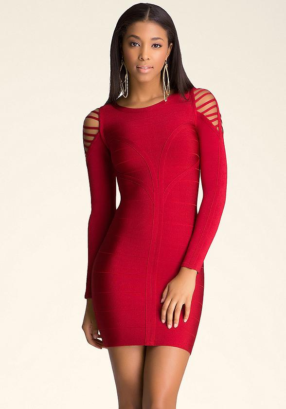 Slash shoulder dress dresses bebe