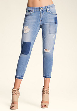 Patched Girlfriend Jeans at bebe