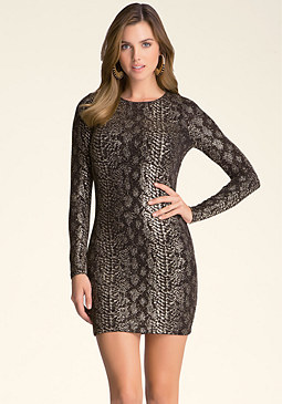 bebe Metallic Snake Dress