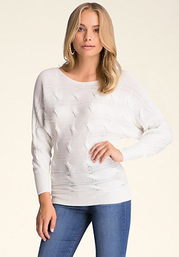 bebe Dolman Sleeve Cable Sweater
