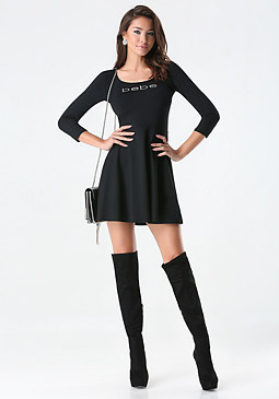 bebe Logo 3/4 Sleeve Dress
