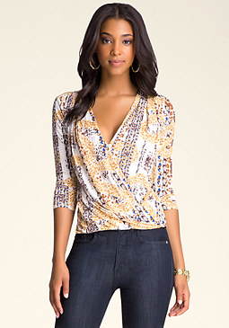 bebe Printed Wrap Top