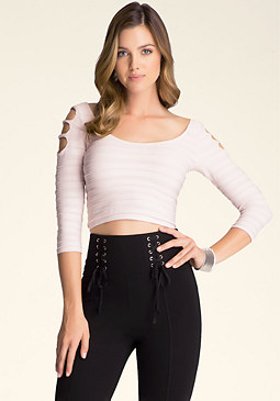 bebe Mix Ottoman Shimmer Top