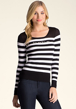 bebe Logo Striped Sweater Top