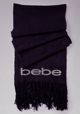 bebe Logo Fringed Scarf