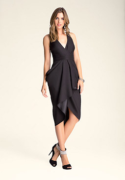 bebe Cutout Draped Halter Dress