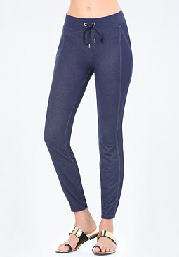 bebe Logo Denim Terry Leggings