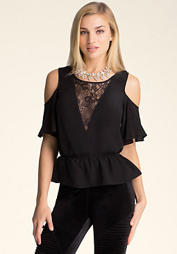 bebe Silk & Lace Peplum Top