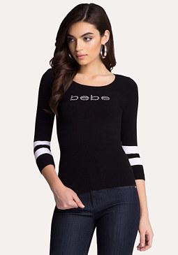 bebe Logo Striped Sweater