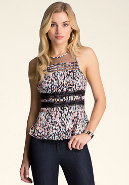 bebe Embellished Peplum Top